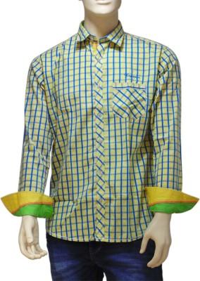 EXIN Fashion Men's Checkered Casual Yellow, Blue Shirt