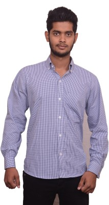 Signore Men's Checkered Formal Blue Shirt
