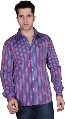 Denimize Men's Striped Casual Pink Shirt