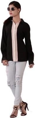 Fashnopolism Women's Solid Casual Black Shirt