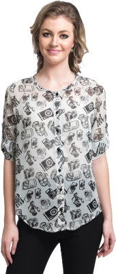 Uptownie Lite Women's Self Design Casual White Shirt