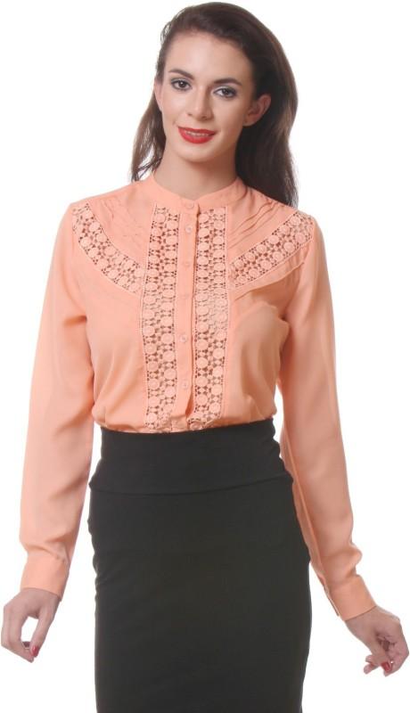 Purys Women's Solid Party Orange Shirt