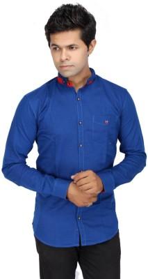 JG FORCEMAN Men's Solid Casual Dark Blue Shirt
