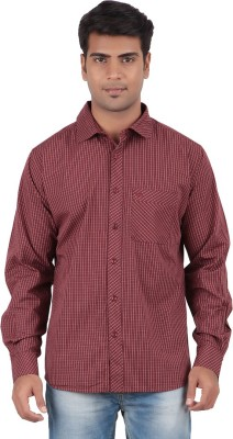 Anytime Men's Striped Casual Maroon Shirt