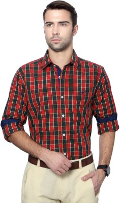 University of Oxford Men's Checkered Casual Red Shirt