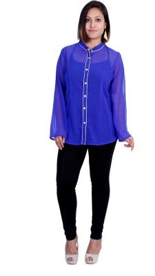 Rich Creations Women's Solid Casual Purple Shirt