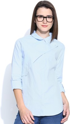 Silly People Women's Solid Casual Light Blue Shirt