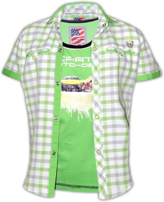Fingerchips Boys Graphic Print Casual Green, White Shirt
