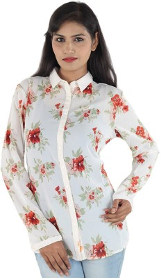 Aimeon Women's Floral Print Casual White, Red Shirt