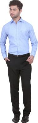 Trustedsnap Men's Solid Formal Linen Light Blue Shirt