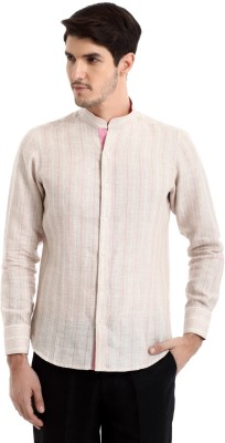 Yell Men's Solid Casual Linen Pink Shirt