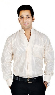 Spaky Men's Self Design Casual Beige Shirt