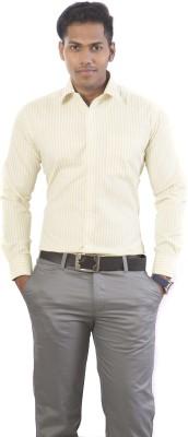 N&K Signature Men's Striped Formal Yellow, White Shirt