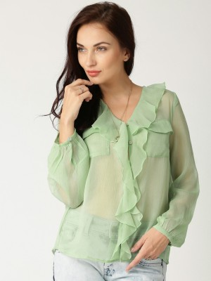 All About You Women's Solid Casual Green Shirt