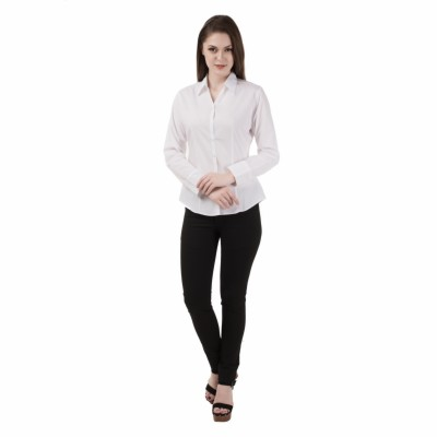 Apoyo Women's Solid Formal White Shirt