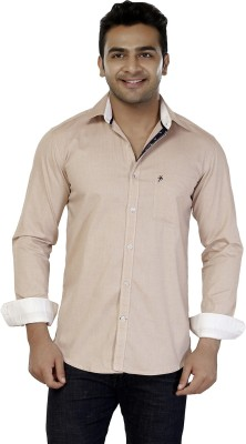 Jazzup Men's Solid Casual Beige Shirt