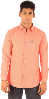 FA French America Men's Solid Casual Orange Shirt
