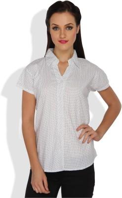 Ten on Ten Women's Polka Print Casual White, Black Shirt