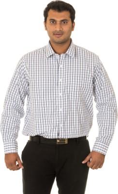 West Vogue Men's Checkered Formal White Shirt