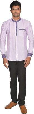 DoubleF Men's Solid Party Purple Shirt