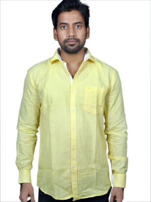 American Fox Men's Solid Casual Linen Yellow Shirt