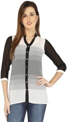 Goddess Women Women's Polka Print Casual Black Shirt