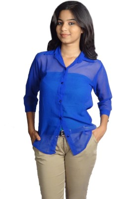 Oomph Factor Women's Solid Formal Blue Shirt
