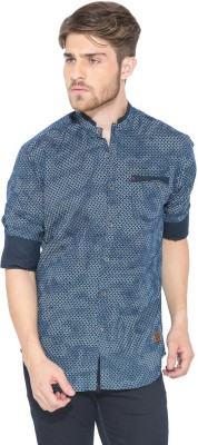 Status Quo Men,s Printed Casual Blue Shirt