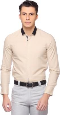 Laven Men's Solid Formal Beige Shirt