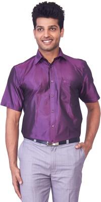 Mark Anderson Men's Solid Casual, Festive, Wedding, Party Purple Shirt