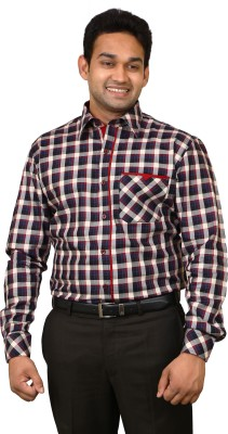 Benzoni Men's Checkered Formal Maroon, Dark Blue Shirt