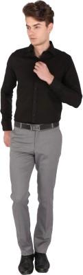 Magson Men's Solid Formal, Party Linen Black Shirt
