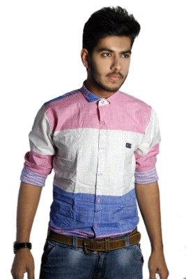 Live Green Men's Striped Casual Multicolor Shirt
