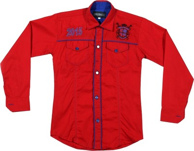 Buds N Blossoms Boy's Embroidered Casual Red, Blue Shirt