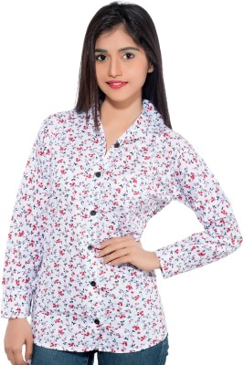 Membooz Women's Floral Print Casual White, Red Shirt