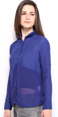 HRX by Hrithik Roshan Women,s Solid Casual Blue Shirt