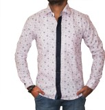 Sambhavs Men's Printed Casual Pink Shirt