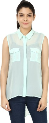 India Inc Women's Solid Casual Light Green Shirt