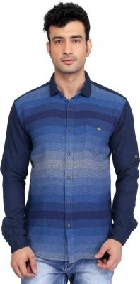 Glabrous Men,s Self Design Casual Blue Shirt