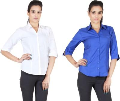 NGT Women's Solid Formal Grey Shirt