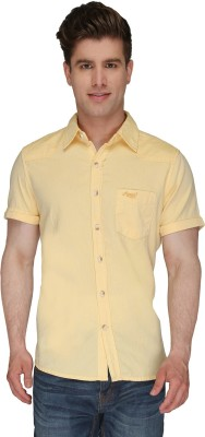Again? Vintage Men's Solid Casual Yellow Shirt