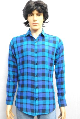 FINCH FEATHER Men's Checkered Casual Dark Blue Shirt