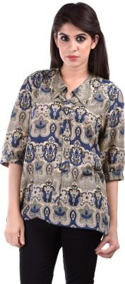 Aarr Women,s Self Design Casual Beige Shirt