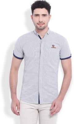 Vintage Men's Striped Casual Beige Shirt