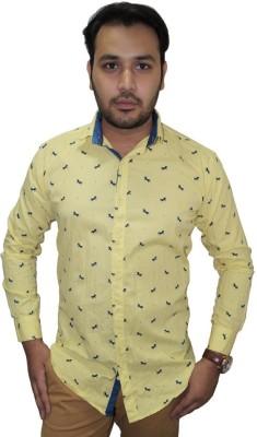 Ali Darzi Men's Printed Casual Yellow Shirt