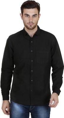 Chalk Factory Men's Solid Casual Linen Black Shirt