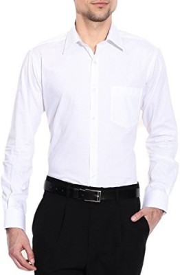 DeccanApparel Men's Solid Formal White Shirt