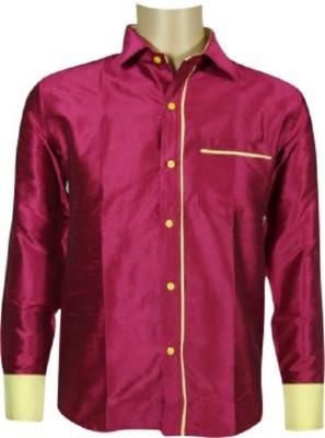 KENRICH Men's Solid Wedding, Casual, Party, Formal, Festive Reversible Pink, Multicolor Shirt