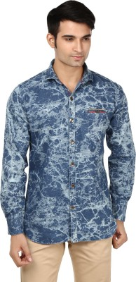 Flakes Fashion Men's Printed Casual Denim Blue Shirt