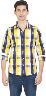 Flippd Men's Checkered Casual Yellow, Dark Blue Shirt
